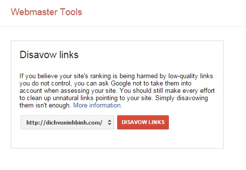 Hướng dẫn xóa Backlink xấu trong webmasters