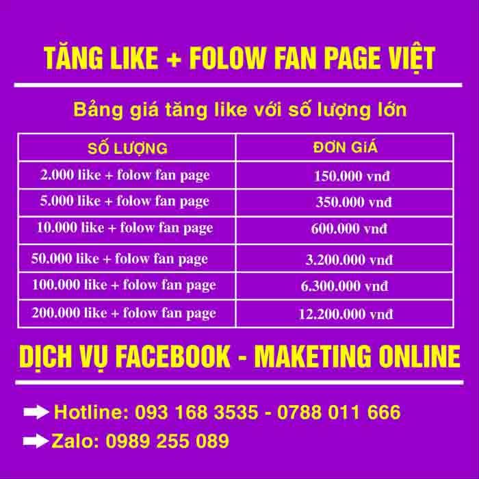 Nhận tăng like Facebook , Folow fan page Việt uy tín giá rẻ